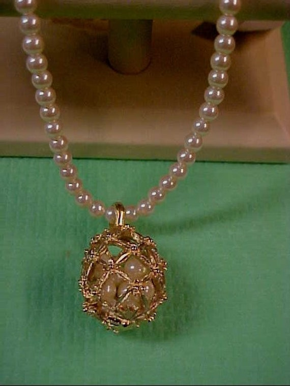 Vintage Richelieu Gold And Peal Long Cage W Pearls Etsy
