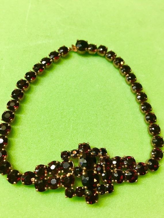 #132 Vintage Gold and Garnet Bracelet-8-78 Wide-Absoutely STUNNING!
