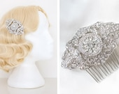 1930s Hairstyles for Long Hair Art Deco Vintage Style Silver Crystal Hair Comb  Headpiece  Hair accessory  Bridal Wedding hair clip  1920s 1930s 1940s Gatsby Style $20.30 AT vintagedancer.com