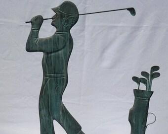 Folk art golfer weather vane made of copper. 1930's, figural folky antique. Good verdigris. (Offers Considered)