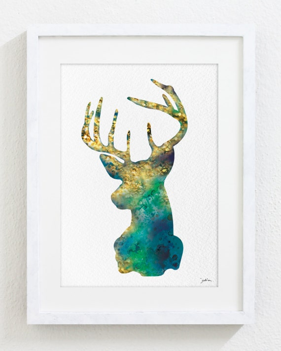 Deer Art Watercolor Painting 8x10 Archival Print Blue Etsy
