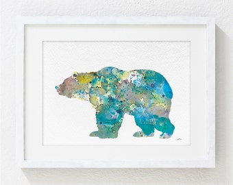Blue Bear 2 - Art Watercolor Painting - 5x7 Archival Print - Blue, Teal and Grey Grizzly Bear Silhouette - Home Decor Wall Art, Housewares