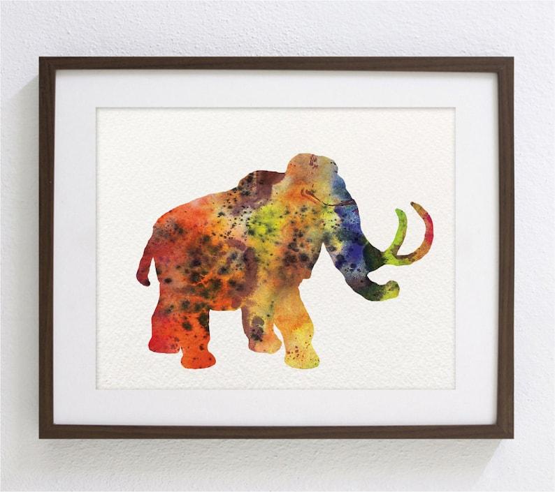 Coloré Art Aquarelle Peinture Arc En Ciel Mammouth 5 X 7 Archives Impression Dart Peinture Moderne Animaux Art Print Décoration Dintérieur