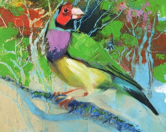 Yellow Pink Bird Oil Painting Canvas Original Art Birds Etsy