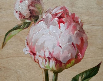 Peony flowers oil painting Original art Floral painting Pink peonies Unique artwork Birthday gift For her Women gift Small painting on wood