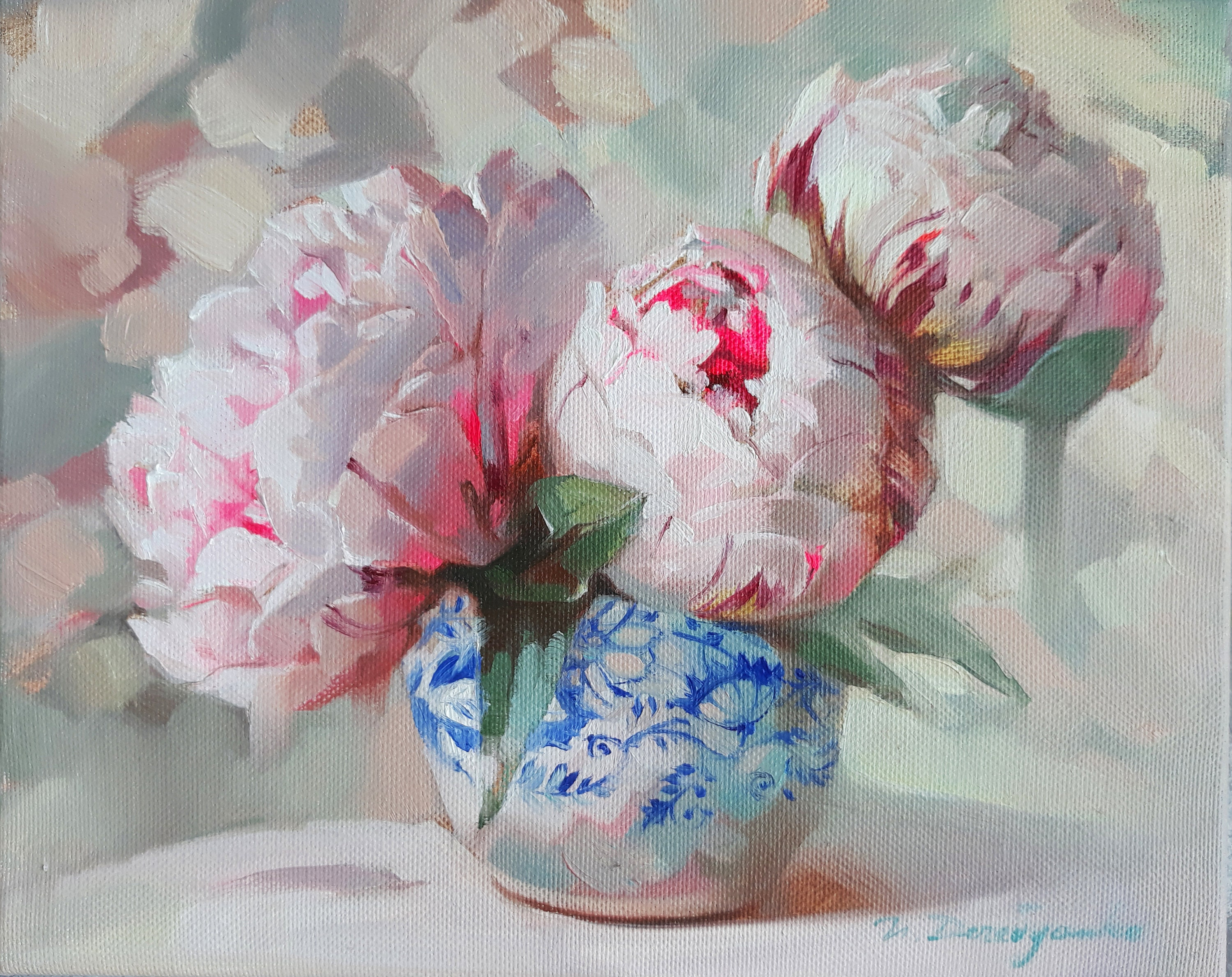 Pink Peony Original  small OIL painting 6 x 6 inches  stretched canvas 04-202 collectible  ready to ship