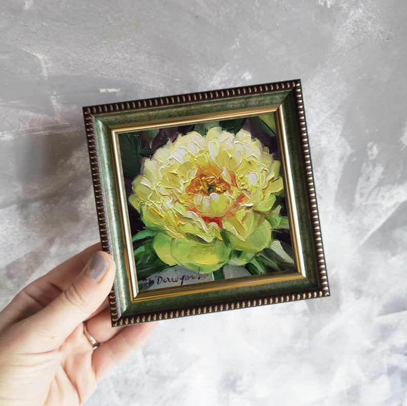 Small oil painting miniature Floral oil painting Easter picture gift Yellow unique peony oil painting original framed