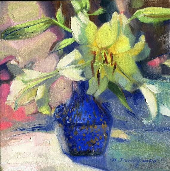 White Yellow Lily In A Blue Glass Vase Small Oil Painting On Etsy