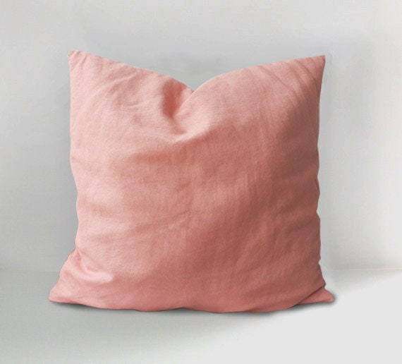 Washed pink linen pillow cover pilllow