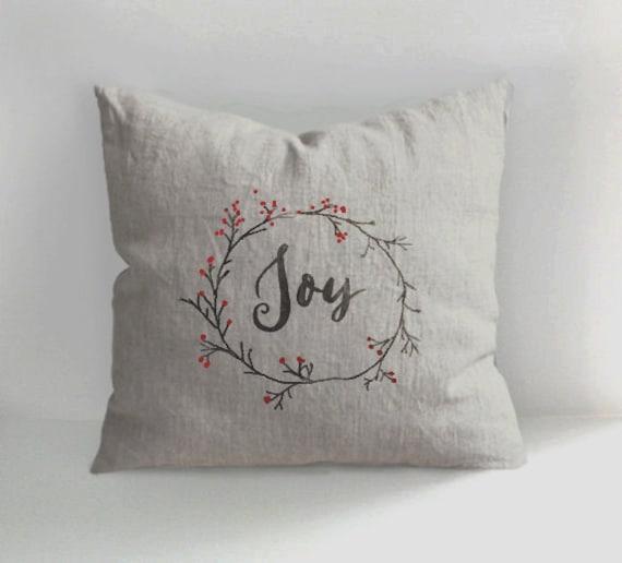 Joy Pillow Christmas Pillow Handmade Linen Pillow Cover Etsy