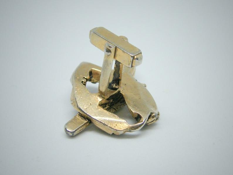 Single Vintage Anson Pistol w Holster Gun Belt Cufflink Gold-tone Gun Cowboy Belt Cuff Link