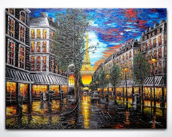 Paris Painting Eiffel Tower Art - Contemporary Art ORIGINAL Impressionism Cityscape Art Palette Knife Impasto Oil Canvas Painting Made2Order