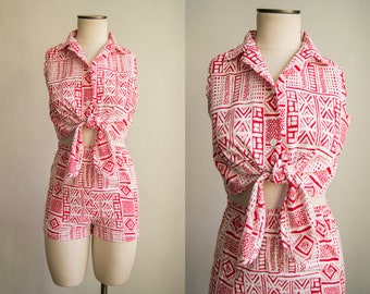 e1651afe70b8 vintage 1970s playsuit   70s two piece cotton romper   xs   Hot Child in  the City Set