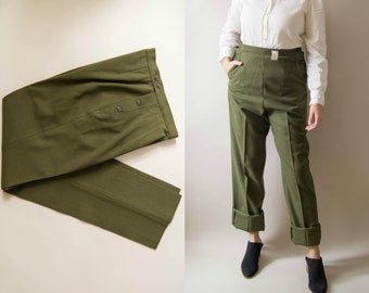Vintage Mens Military pants Green Wool Small Regular Zippered  Fly Straight Leg