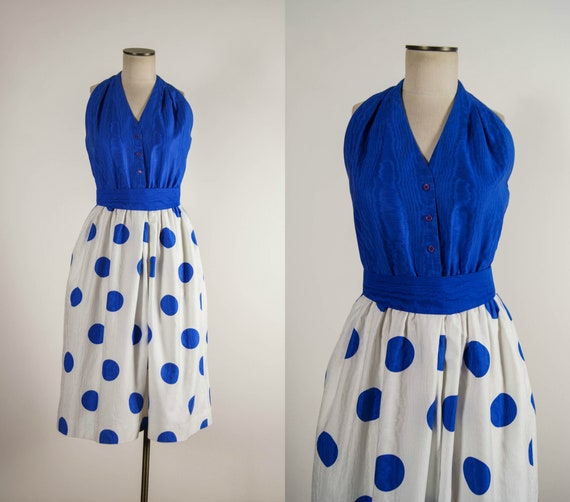 vintage 1980s dress / 80s blue halter polka dot dr