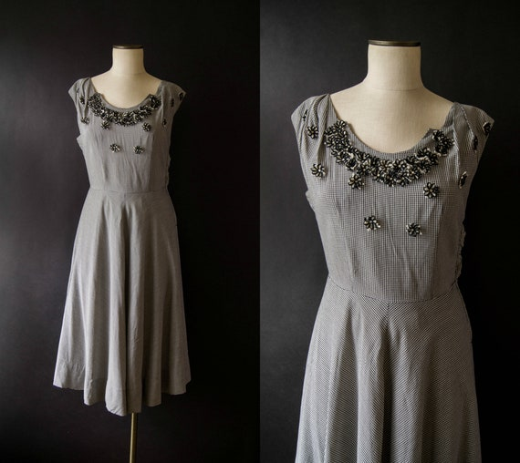 vintage 1950s dress / 50s gingham applique dress /