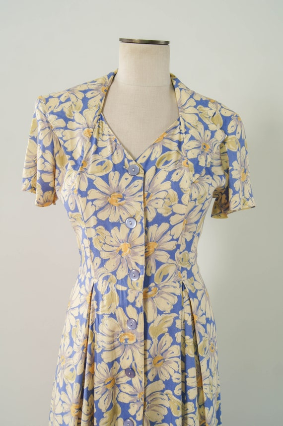 vintage 1990s dress / 90s does 30s floral rayon d… - image 6