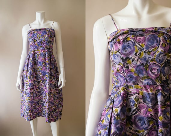 vintage 1950s dress / 50s purple floral cotton sun