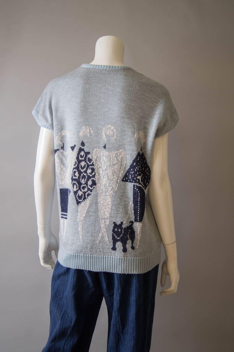 vintage 1980s sweater  80s novelty print sweater  medium-large  Black Dog Sweater