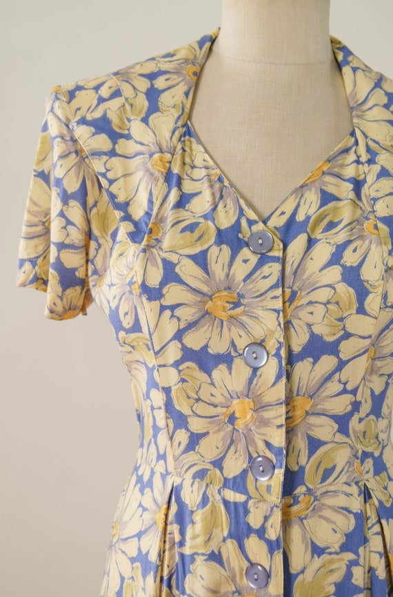 vintage 1990s dress / 90s does 30s floral rayon d… - image 3