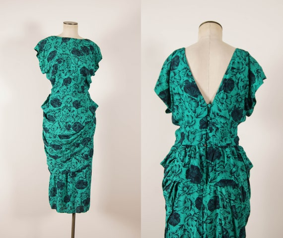 vintage 1980s dress / 80s-does-40s green floral ra