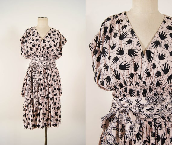 vintage 1980s dress / 80-does-40s novelty print Ni