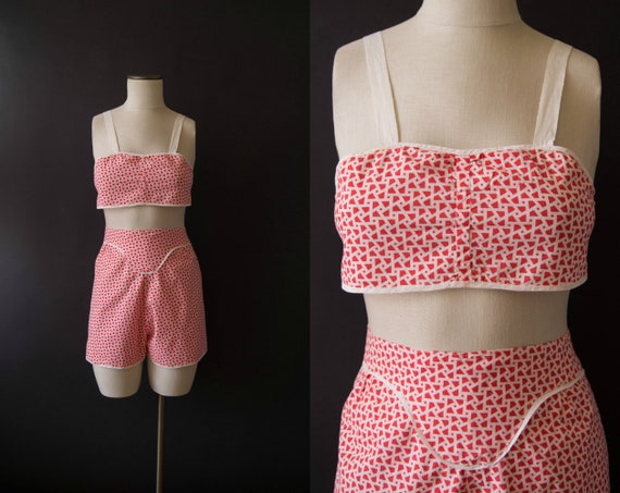vintage 1940s playsuit / 40s two piece cotton play