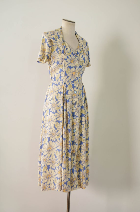 vintage 1990s dress / 90s does 30s floral rayon d… - image 4