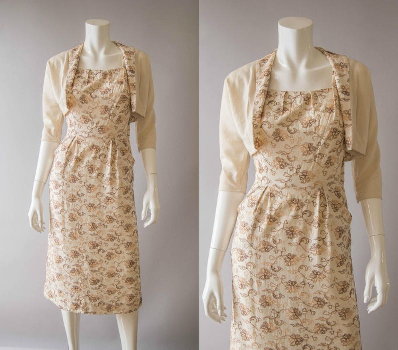 add724c212a Vintage 1950s dress   50s embroiderd linen dress   jacket set