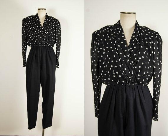 vintage 1980s jumpsuit / 80s polka dot jumpsuit /