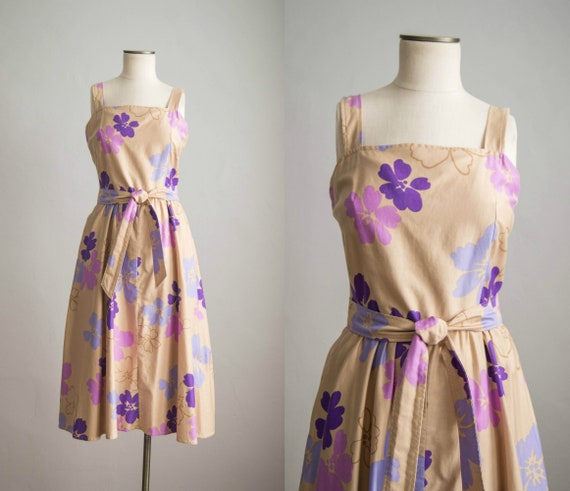 vintage 1980s dress / 80s floral cotton sun dress