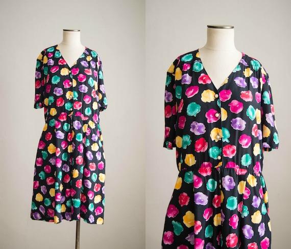 vintage 1980s romper / 80s colorful rayon romper /