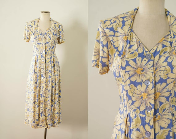 vintage 1990s dress / 90s does 30s floral rayon dr