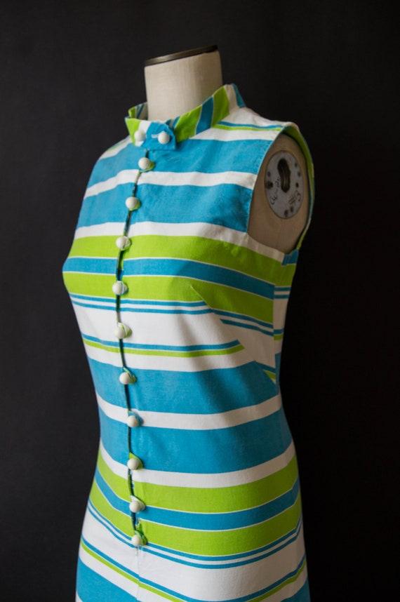 vintage 1960s romper / 60s striped cotton romper … - image 6