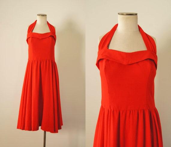 vintage 1970s dress / 70s rayon halter dress / s-m