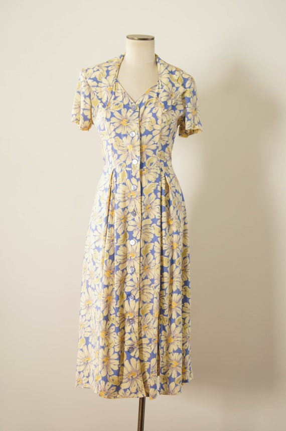 vintage 1990s dress / 90s does 30s floral rayon d… - image 2
