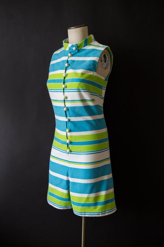 vintage 1960s romper / 60s striped cotton romper … - image 2