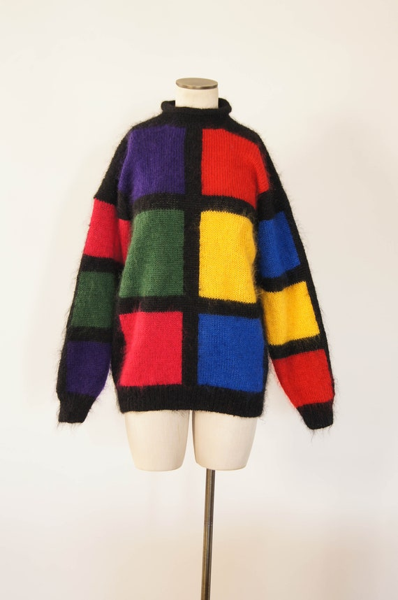 vintage 1980 sweater / 80s colorblock mohair pullo