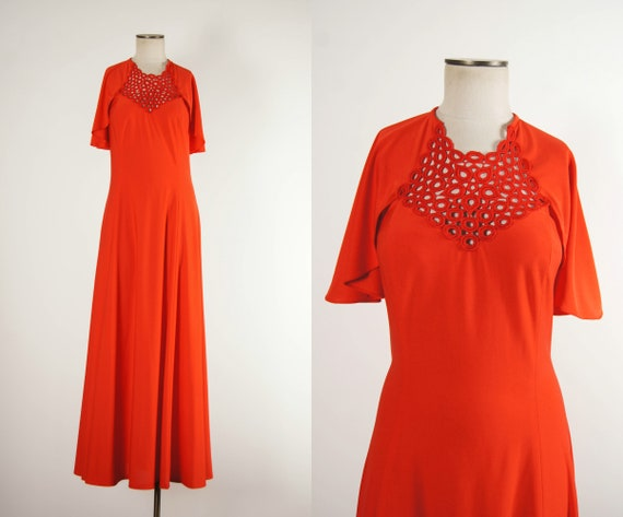 vintage 1970s dress / 70s red crochet cut out maxi