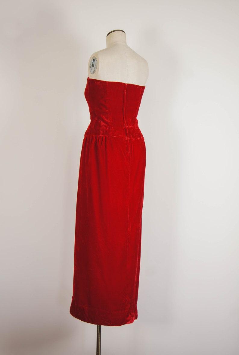 vintage 1980s dress  80s strapless velvet Victor Costa dress  m-l  Poinsettia Dress