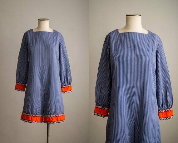 vintage 1960s romper / 1960s striped cotton playsu