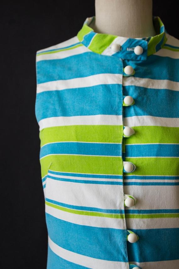 vintage 1960s romper / 60s striped cotton romper … - image 3