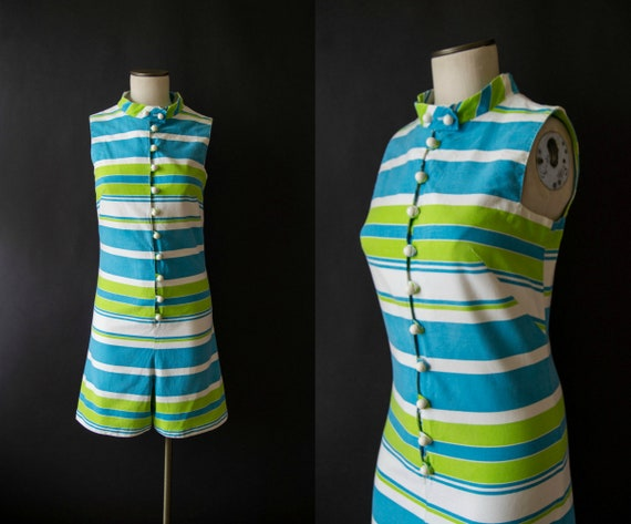 vintage 1960s romper / 60s striped cotton romper /