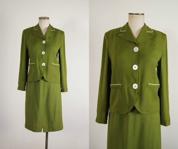 vintage 1950s suit / 50s green linen skirt suit /