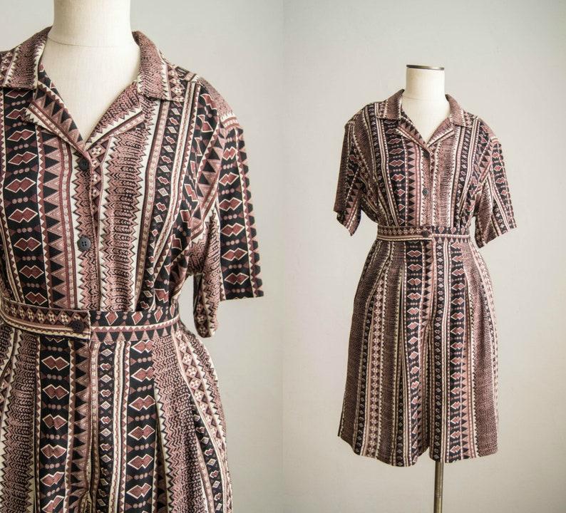 vintage 1980s blouse /& shorts set  80s geometric print short set  medium