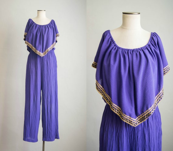 vintage 1980s jumpsuit / 80s purple cotton gauze j
