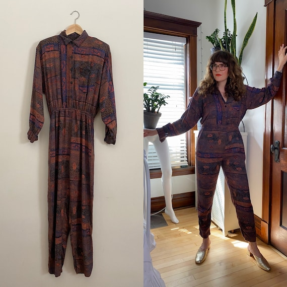 vintage 1980s jumpsuit / 80s abstract print jumpsu