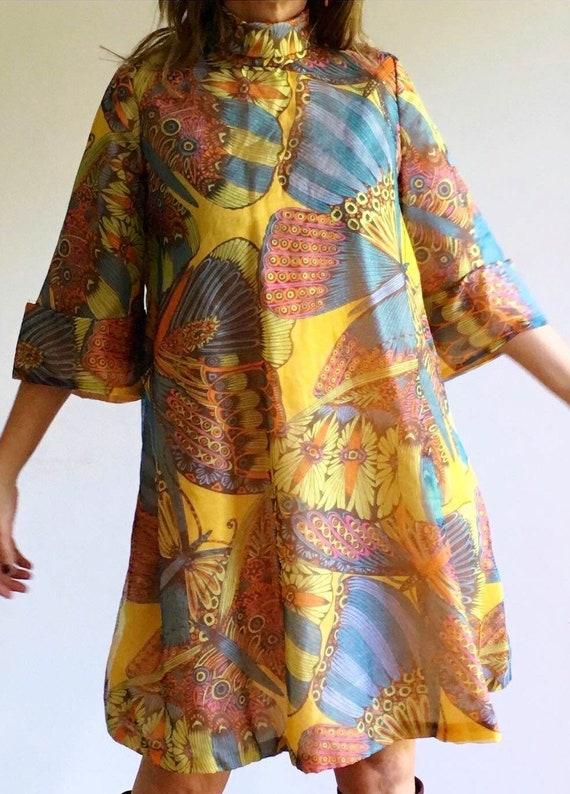 1960s Chiffon Butterfly flare dress.