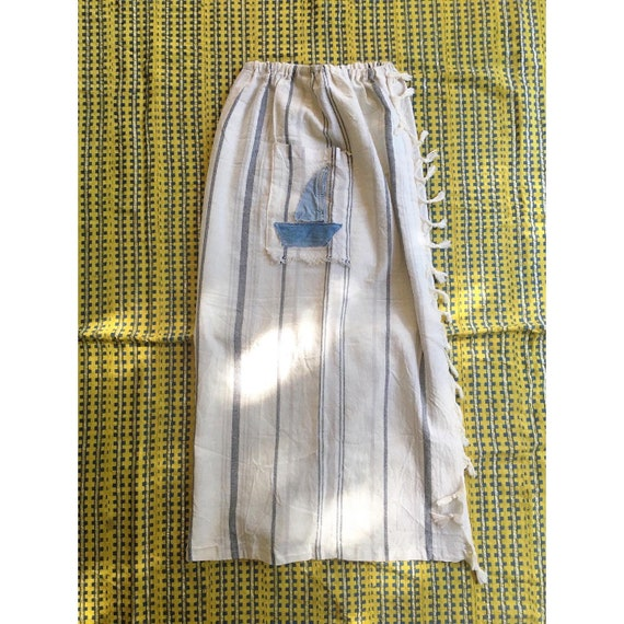 1970s Cheese Cloth raw Cotton striped fringed skir