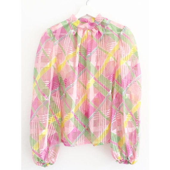 1960s Very big Balloon sleeves Silk/Chiffon checke